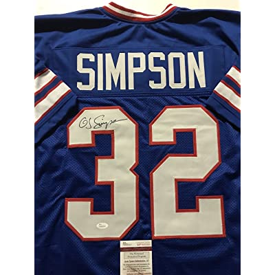 super popular 95f51 fcc2b Autographed/Signed OJ O.J. Simpson Buffalo Bills Blue ...