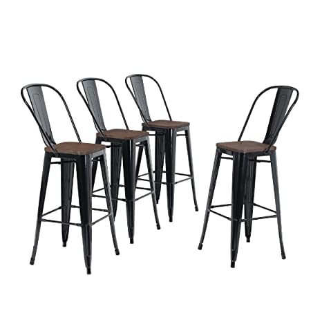 Outstanding Alpha Home 30 High Back Bar Stools With Wood Seat Vintage Metal Dining Chairs Stackable Industrial Counter Stool Cafe Side Chairs Glossy Black Forskolin Free Trial Chair Design Images Forskolin Free Trialorg