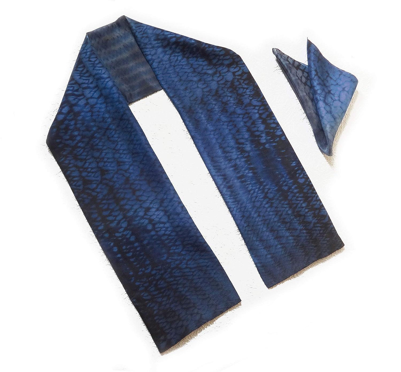 "Hand made cravat 20/"" square Blue Dog print Silk Neckerchief"