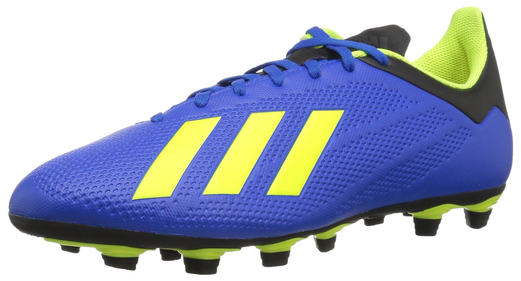 adidas Men's X 18.4 Firm Ground Soccer Shoe, Football Blue/Solar Yellow/Black, 9.5 M US by adidas