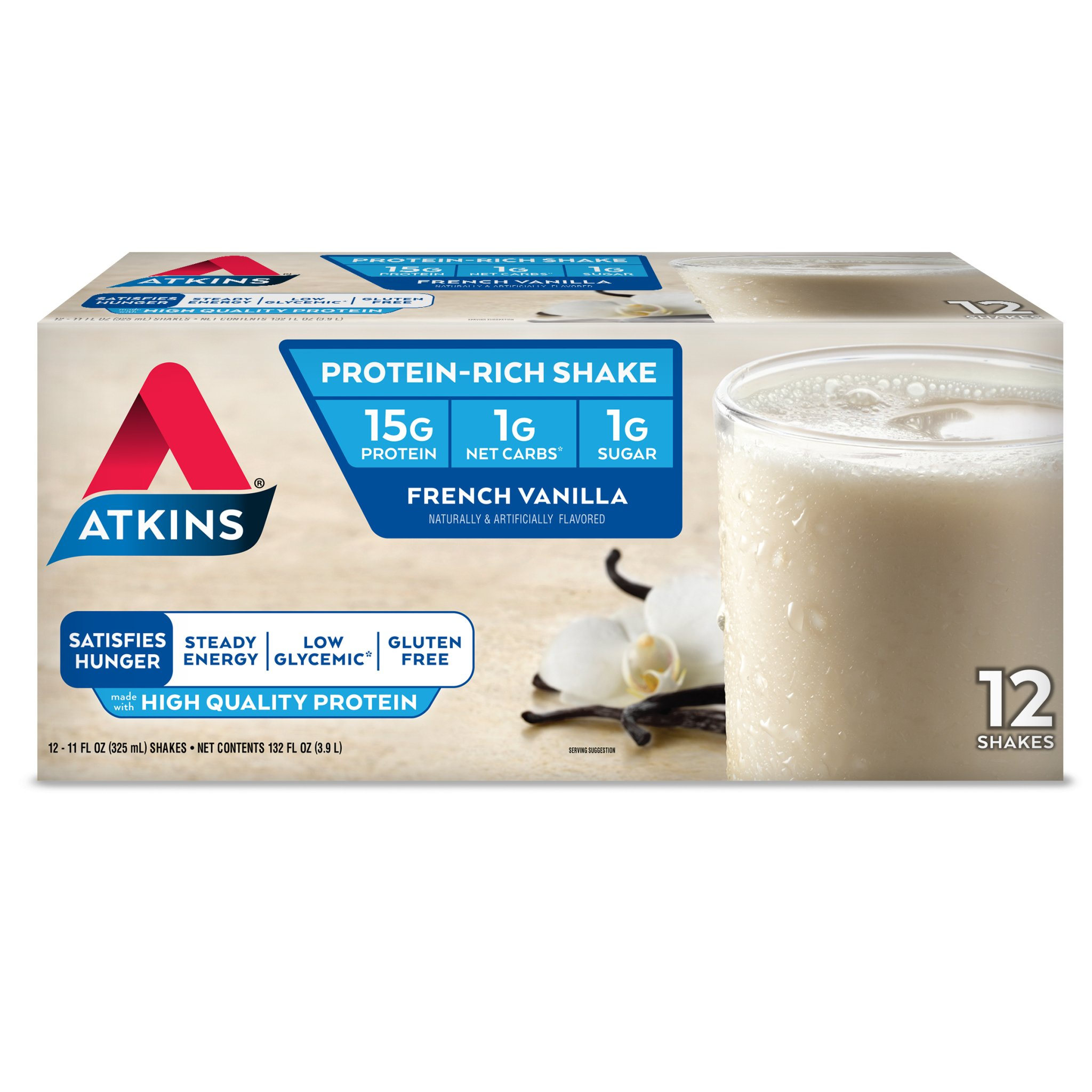 Atkins Gluten Free Protein-Rich Shake, French Vanilla, Keto Friendly, 12 Count by Atkins