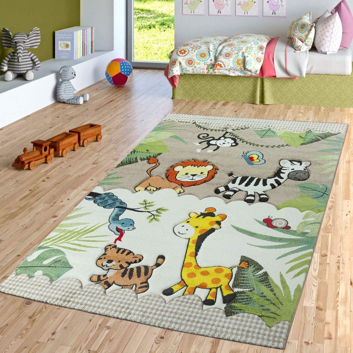 Gr/ö/ße:/Ø 120 cm Rund TT Home Kinderzimmer Teppich Dschungel Zoo Tiere Zebra Tiger L/öwe AFFE Beige Creme
