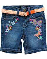 Squeeze Toddler/girls Embroidered Heart Butterfly Belted Bermuda Shorts