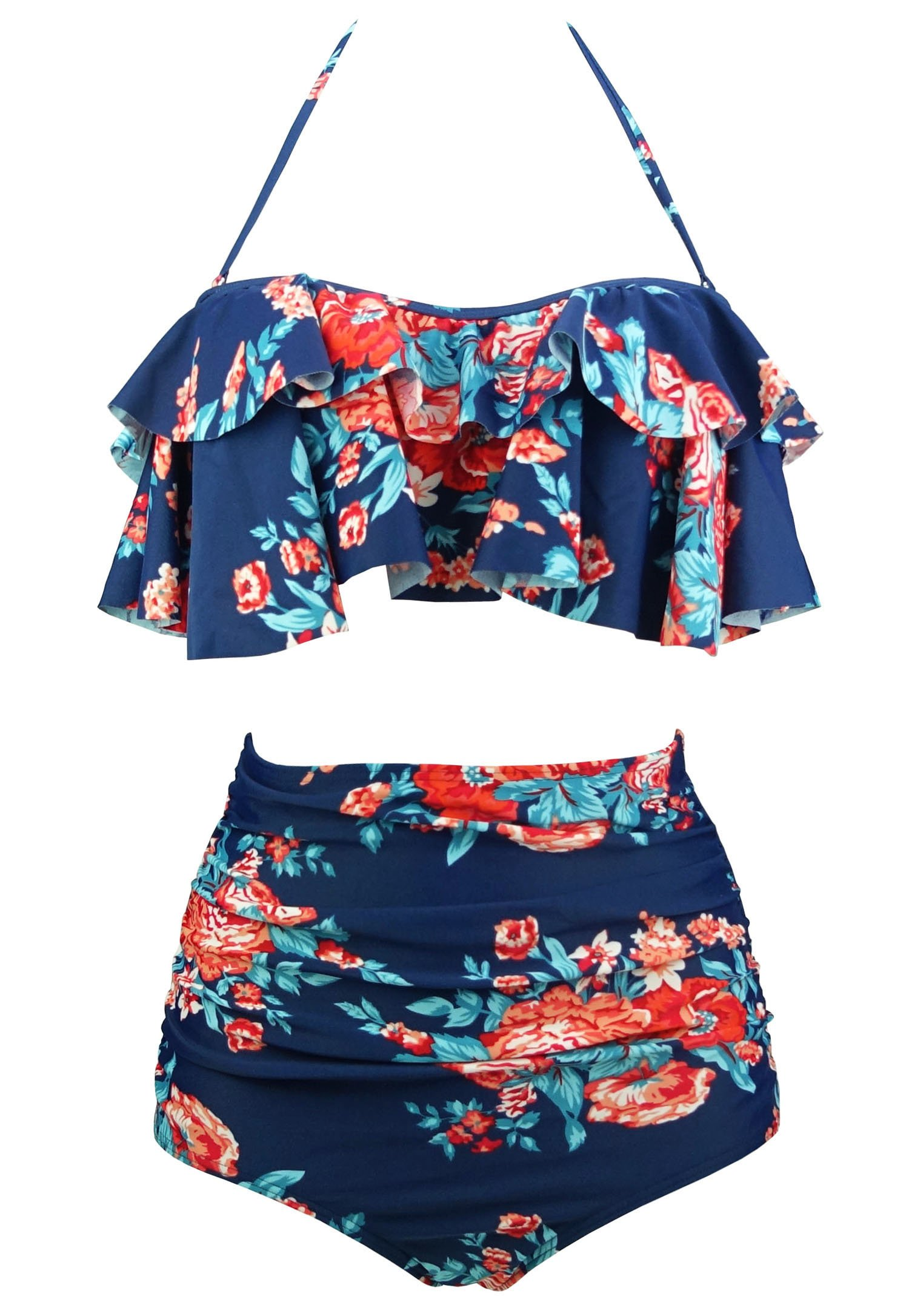 COCOSHIP Red Pink & Navy Blue Antigua Floral Retro Boho Flounce Falbala High Waist Bikini Set Chic Swimsuit Bathing Suit XL(FBA)