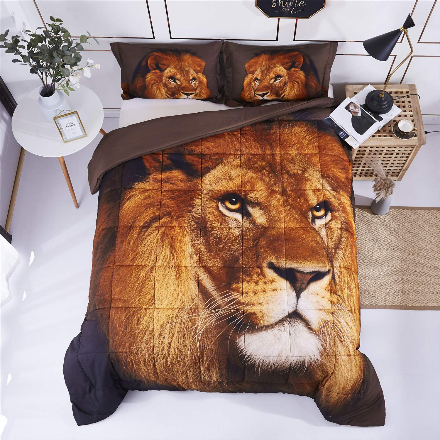 HIG 3D Bedding Set 2 Piece Twin Size Lion Head Animal Print Comforter Set with One Matching Pillow Cover -Box Stitched Quilted Duvet -General for Men and Women Especially for Children (P27,Twin)