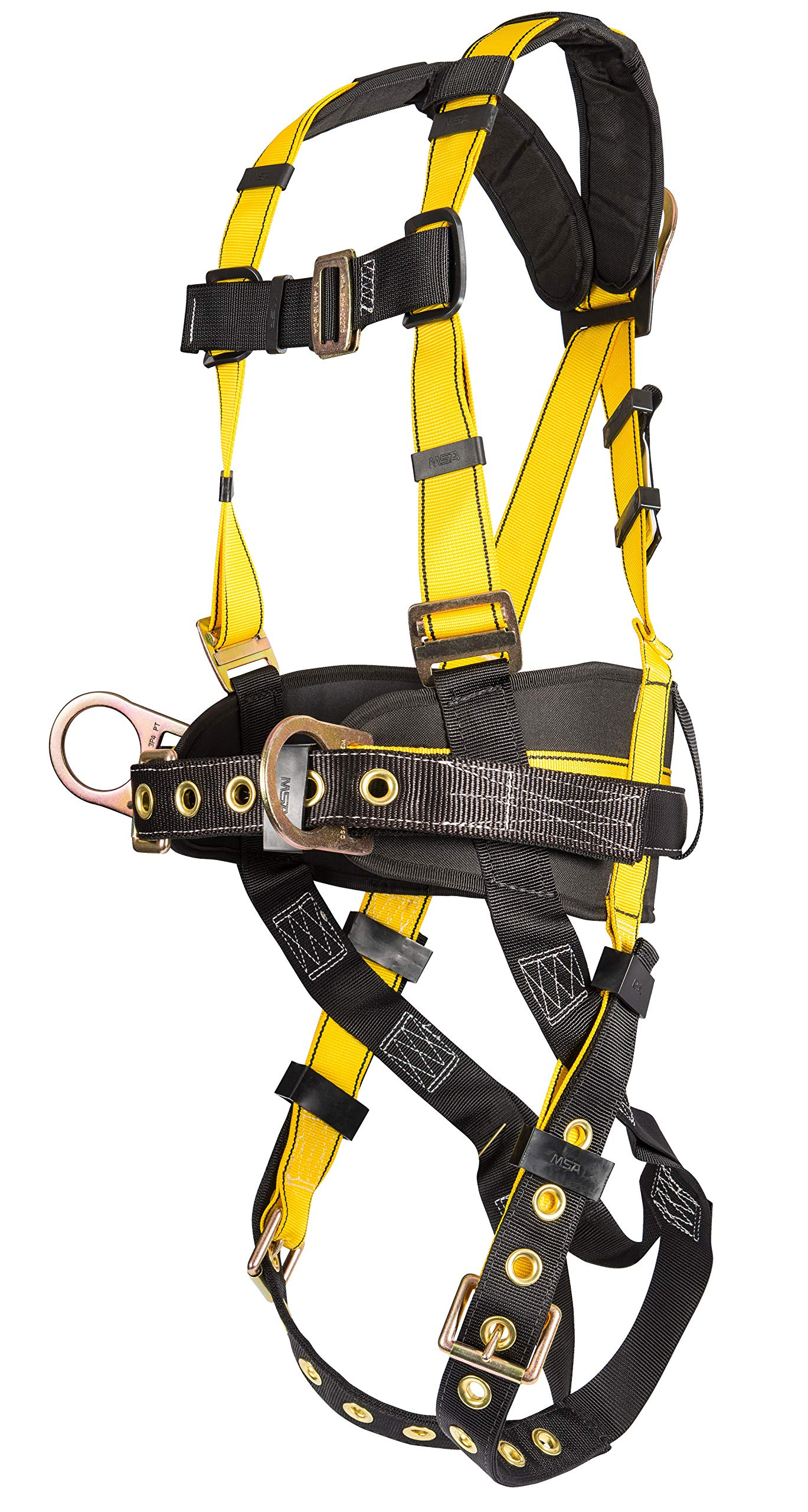 MSA 10077571 Workman Construction Harness with Back/Hip D-Rings, Tongue Buckle Leg Straps, Qwik-Fit Chest Strap Buckle, Integral Back Pad, Tool Belt and Shoulder Pads, Standard by MSA