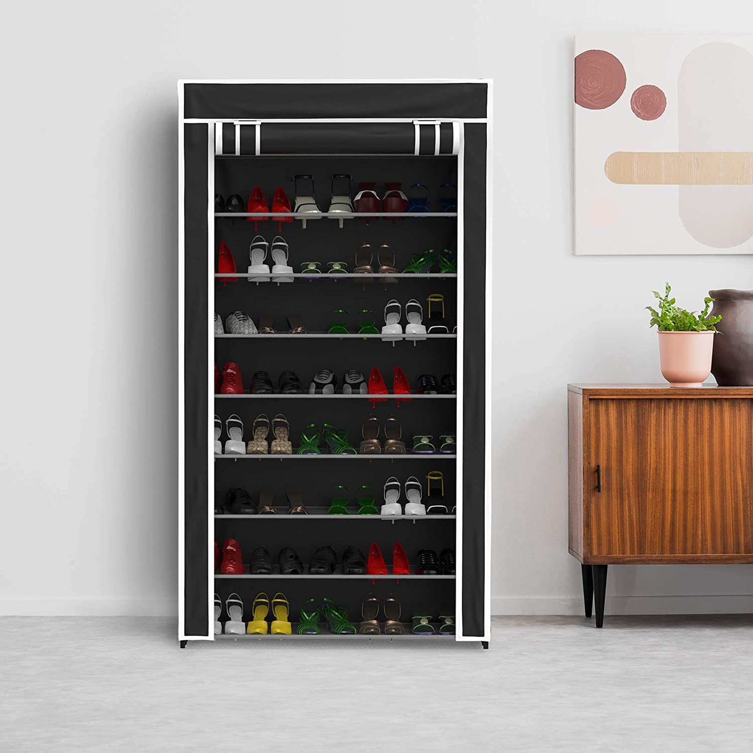 Lavish Home Tiered Shoe Rack with Dust Free Standing Vertical Footwear Organizer with Dustproof, Non-Woven Fabric Cover and Metal Frame