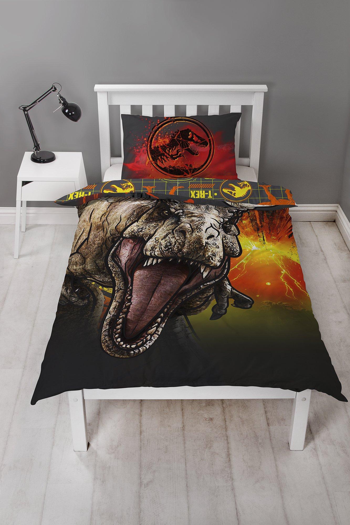 Jurassic World Dinosaur Single Duvet Cover Set  T-Rex Two Sided Reversible  Design