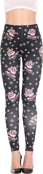 Joy Bridalc Yukata Women Christmas Print Party Skinny Leggings Yoga Gym Sports Stretch Pencil Pants