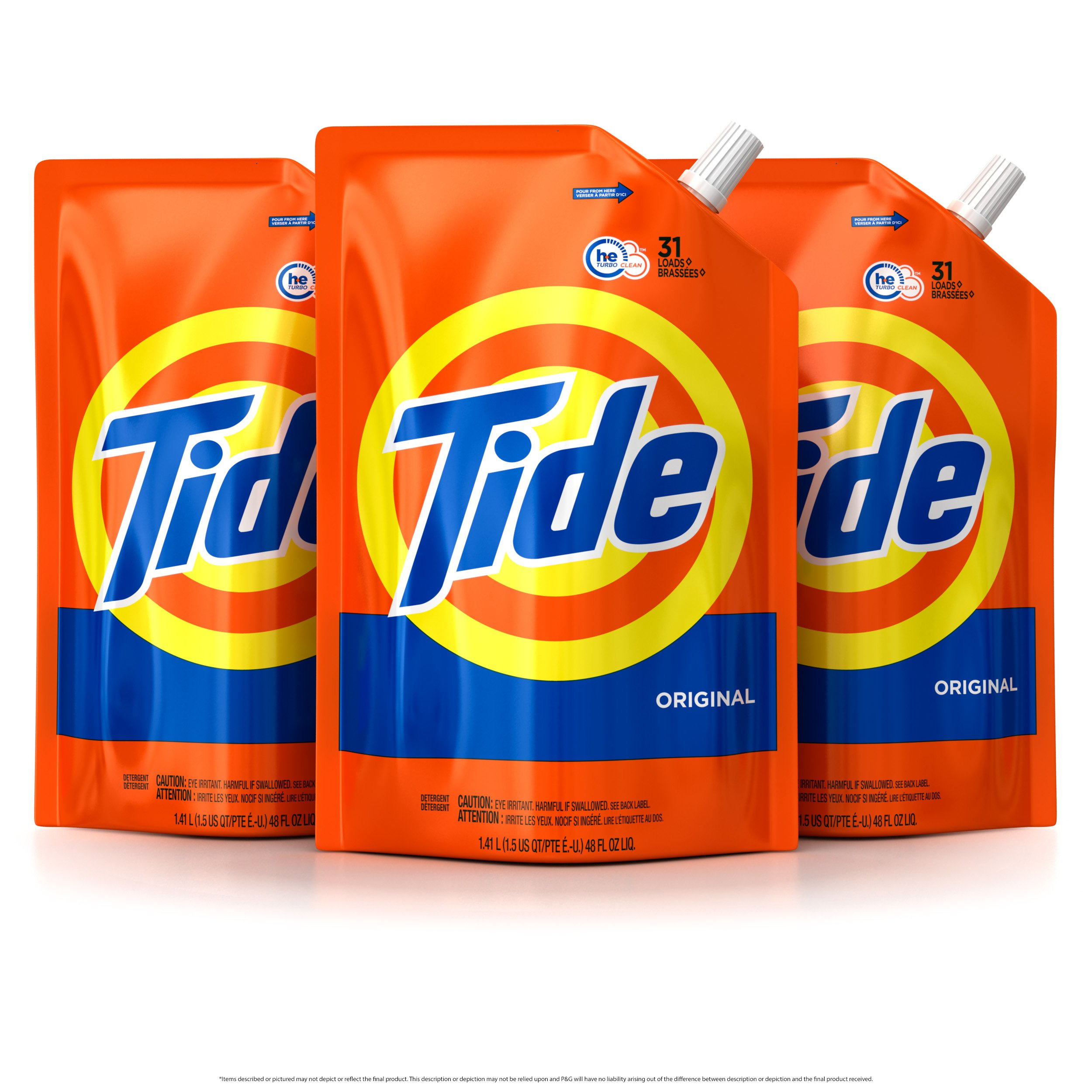 Tide Liquid Laundry Detergent Smart Pouch, Original Scent, HE Turbo Clean, Pack of
