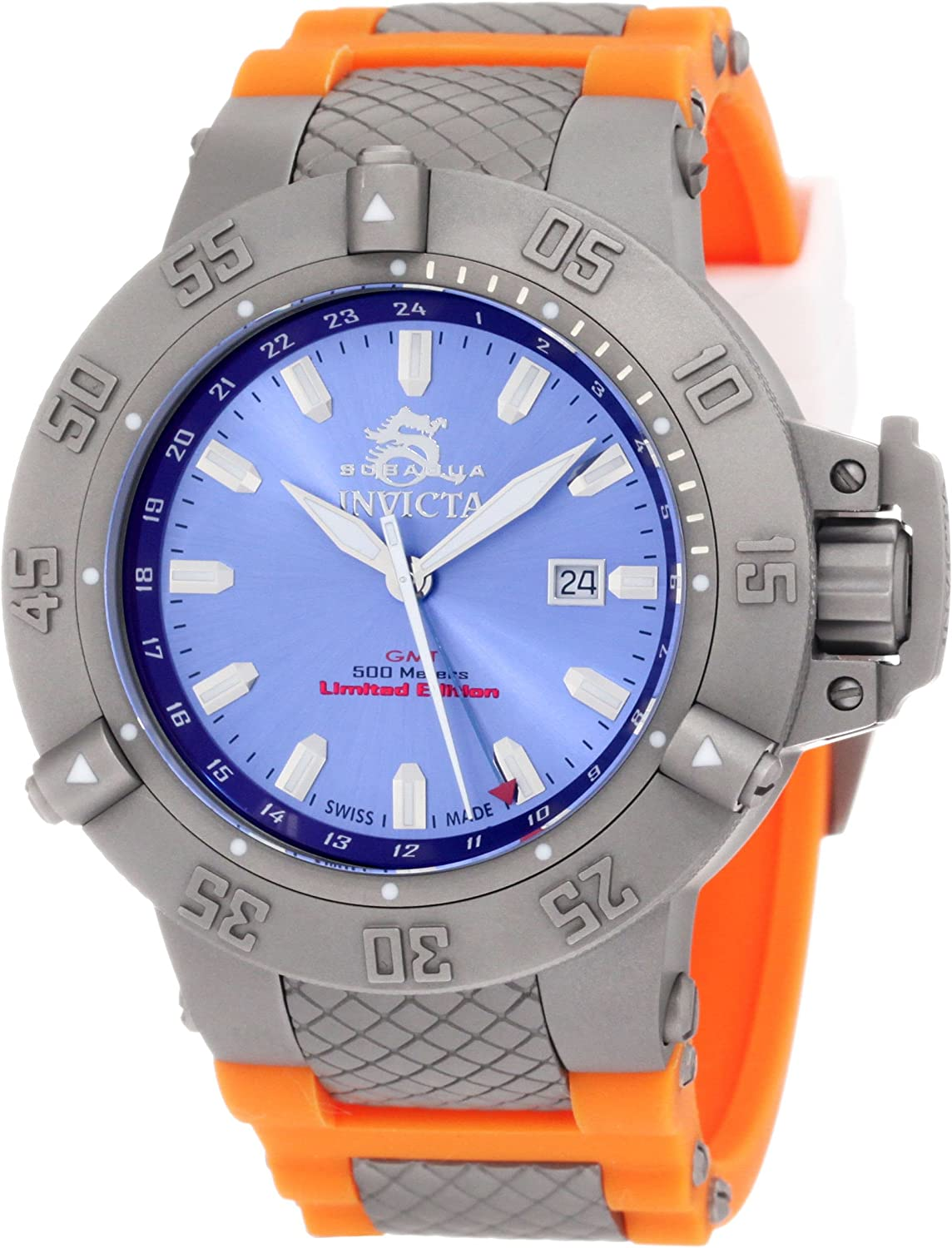 Invicta Men s 1591 Subaqua Noma III Blue Dial Orange Polyurethane Watch