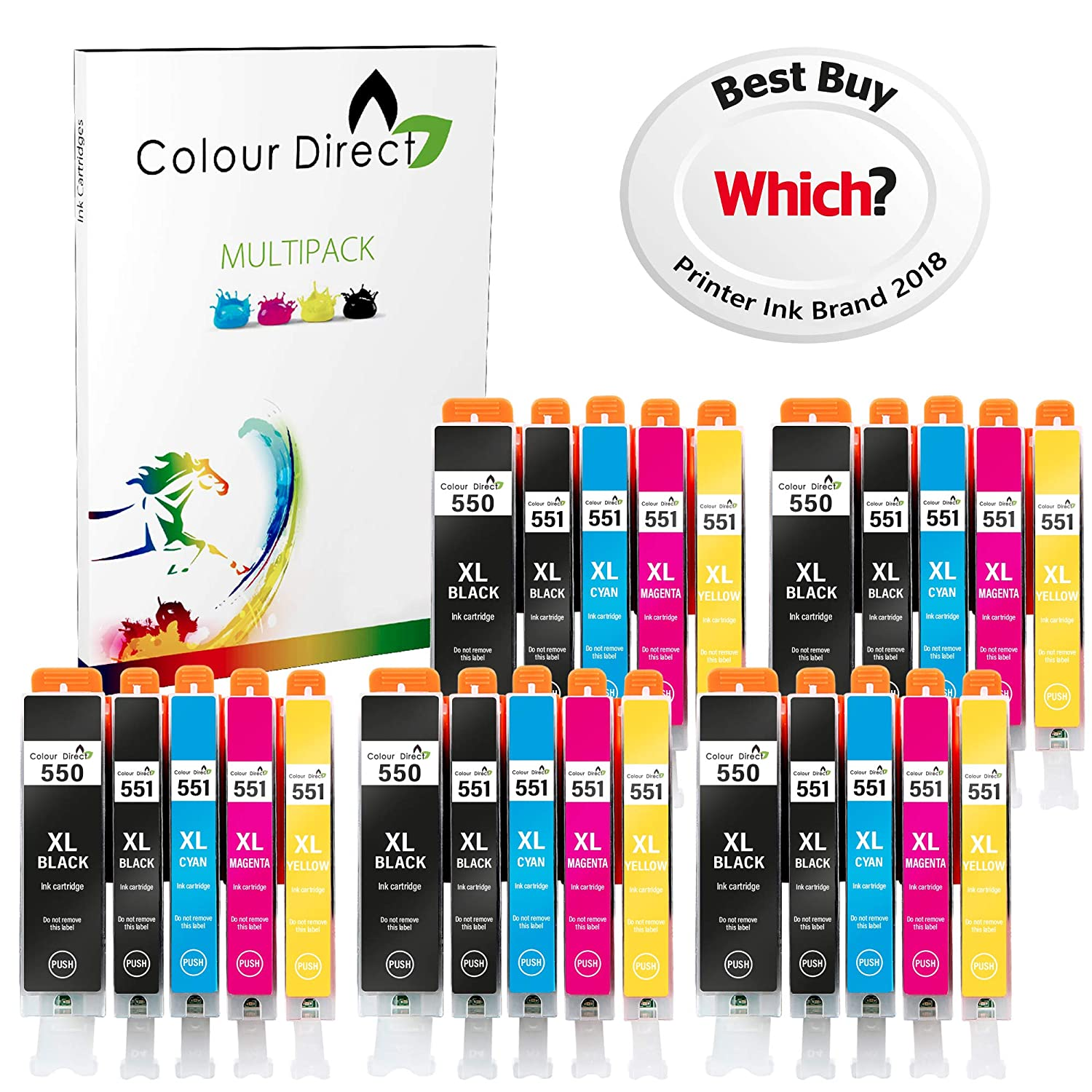 Colour Direct 25XL Compatible Tinta Cartuchos Reemplazo por Canon CLI-551XL / PGI-550XL Pixma MG5450 MG5550 MG5650 MG6350 MG6450 MG6600 MG6650 MX925 ...