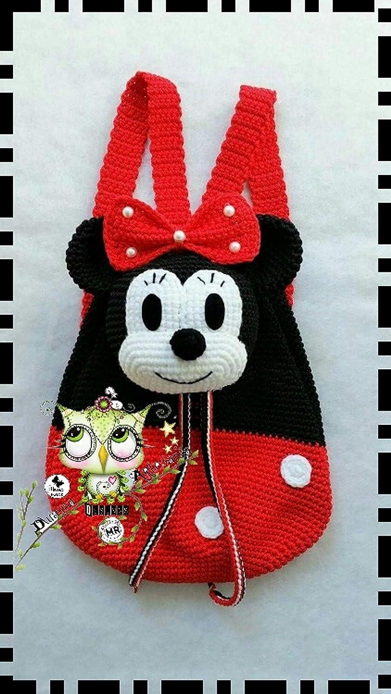 Mochila Minnie Mouse PERSONALIZABLE (Bebé, crochet, ganchillo, muñeco, peluche, niño, niña, lana, mujer, hombre) MODA, ESCOLAR, MALETA, ...