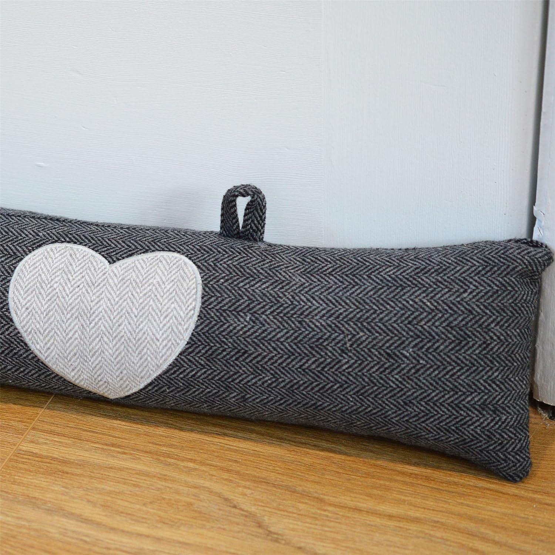 Puerta burlete gris del modelo de espiga con los corazones y ganchos colgantes