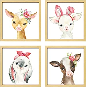 ArtbyHannah 10x10 Inch Picture Frames Framed Nursery Wall Decor, 4 Pcs Farmhouse Photo Frames with Watercolor Safari Baby Animals Wall Art Prints Gallery Kit Wall Art Decor for Kids Room Girls playroom, Nursery Room Or Home Wall Hanging Decoration