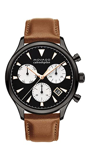 95fe2bfc4 Movado Watch Heritage Series - Calendoplan Chronograph BLK/SS: Amazon.ca:  Watches