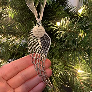 Christmas Ornaments Angel Wings I Have an Angel Watching Over Me and I Call Him Dad Memorial Tag in Our Memory Pendant Christmas Tree Hanging Ornaments Home Decor Gifts 4.25 Inch (Son)