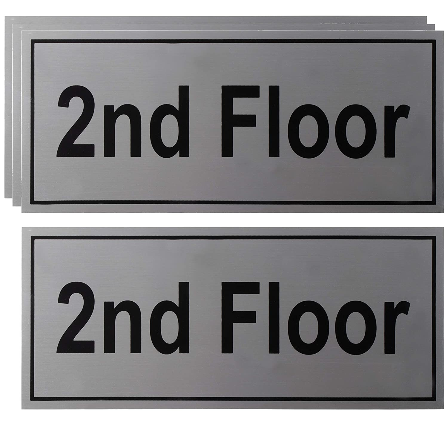 2nd Floor Sign - 4-Pack Elevator Floor Number Label, Peel and Stick, Rust Free Aluminum with Self-Adhesive Backing, Black on Silver, 4 x 11.7 Inches