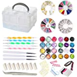 AIFAIFA 69PCS DIY Nail Art Tools Decoration Manicure Kit, Glitter Nail Rhinestones, Nail Sticker Decal, Nail Sequins…