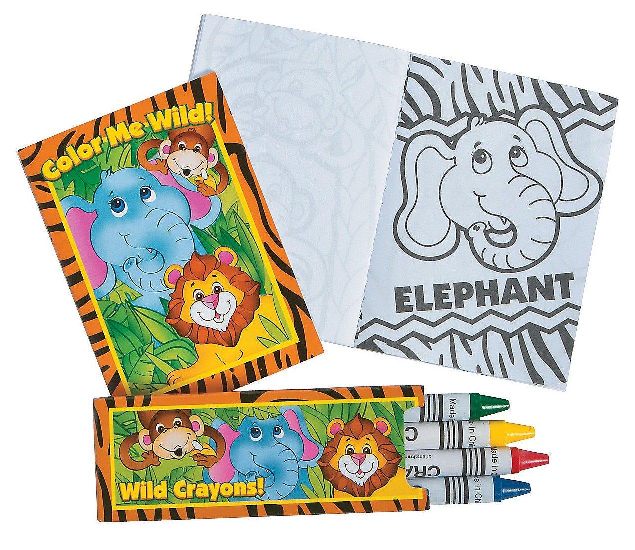 Amazon Fun Express Zoo Jungle Animal Coloring Book And Crayon Sets
