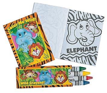 Fun Express Zoo Jungle Animal Coloring Book And Crayon Sets
