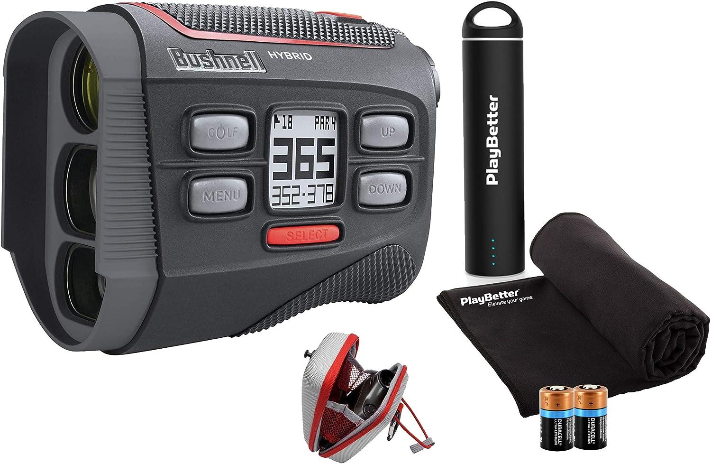 Bushnell Hybrid Golf Laser/GPS Rangefinder Bundle | Pinseeker w/Jolt, 1000 Yards, 5X Mag, Case | 201835 (+ PlayBetter Portable Charger, Microfiber Cleaning Towel & Extra CR2 Battery)