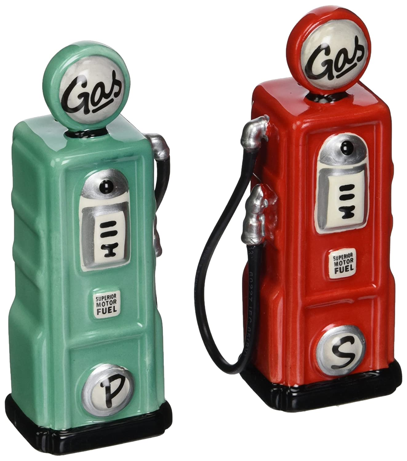 ATD 62505 4.25 Road Trip Red and Blue Gas Pumps Salt and Pepper Shakers