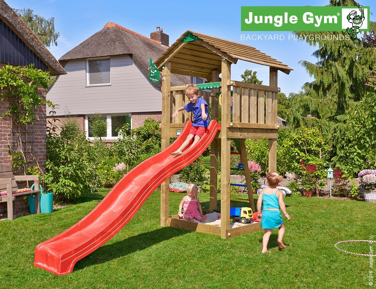 JUNGLE GYM Spielturm Jungle COTTAGE mit Wellen-Rutsche, Komplettbausatz