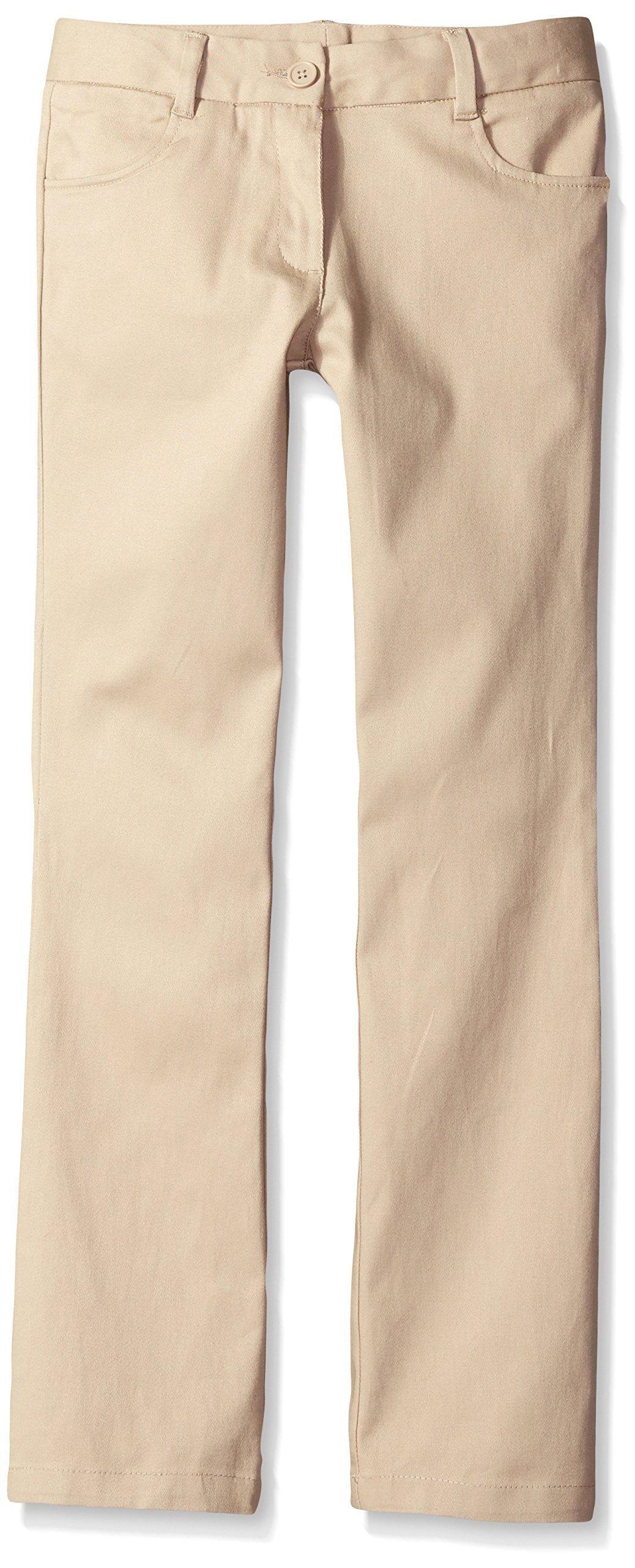 Nautica  Girls' Uniform Bootcut Twill Pant, Khaki, 18.5 Plus