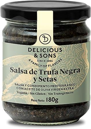 Delicious & Sons Salsa de Trufa Negra y Champiñones - Sin Transgénicos - Sin Gluten - Sin Azúcares Añadidos - Apto para dietas Paleo y Keto - Con ...