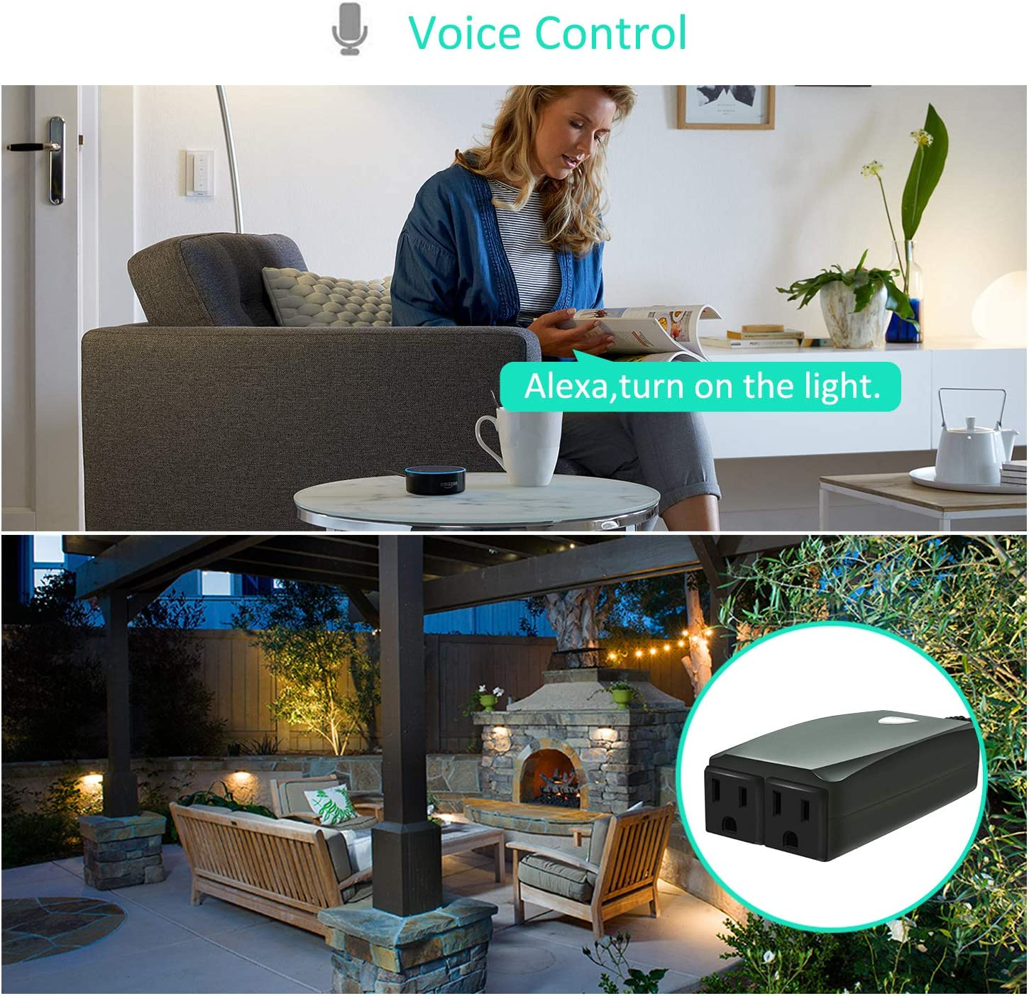 WiFi Outdoor Plug with 2 Sockets,Waterproof Outdoor Smart Outlet,Wireless Remote Control//Timer,Compatible with Alexa,Google Home,Only Support 2.4GHz Wi-Fi Outdoor Smart Plug