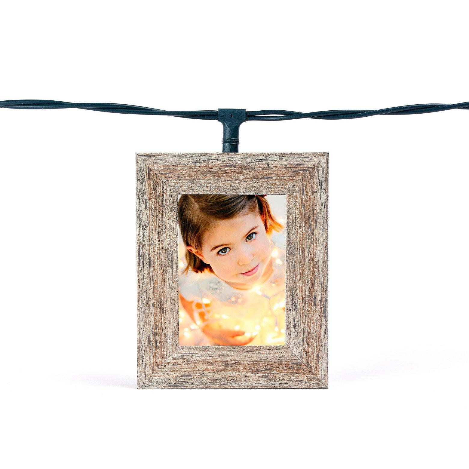 Polaroid 5 Photo Frame Lightboxes - Distressed Gray Wood Frame