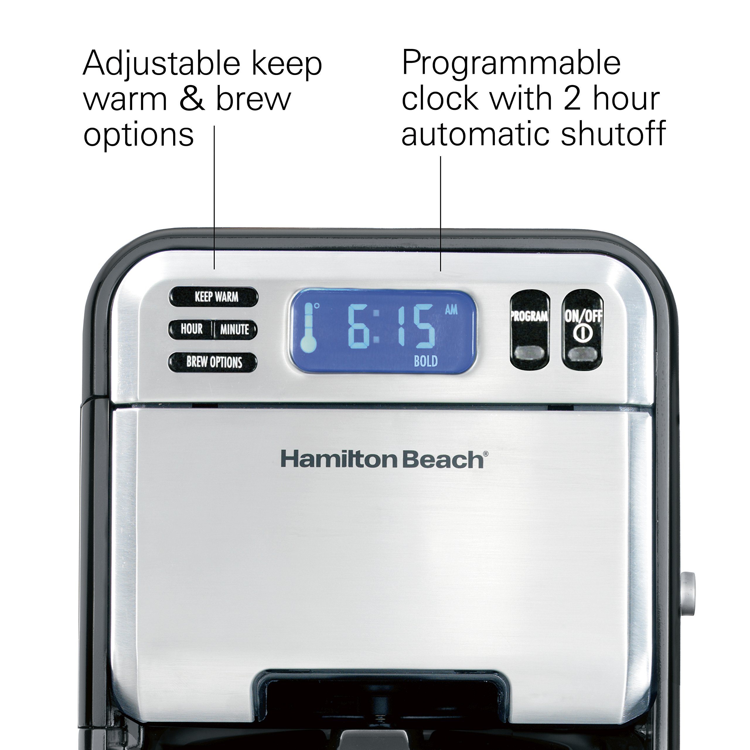 Hamilton Beach (46205) Coffee Maker, Programmable with 12 Cup Capacity, Stainless Steel by Hamilton Beach (Image #4)