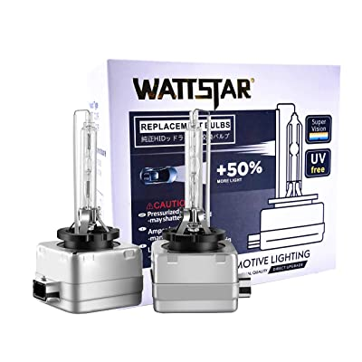 Wattstar Car HID D3S Xenon Headlight Bulbs, 35W 6000K 12V Diamond White OEM Replace for Halogen or LED Exterior Headlamp Bulbs(Pack of 2): Automotive