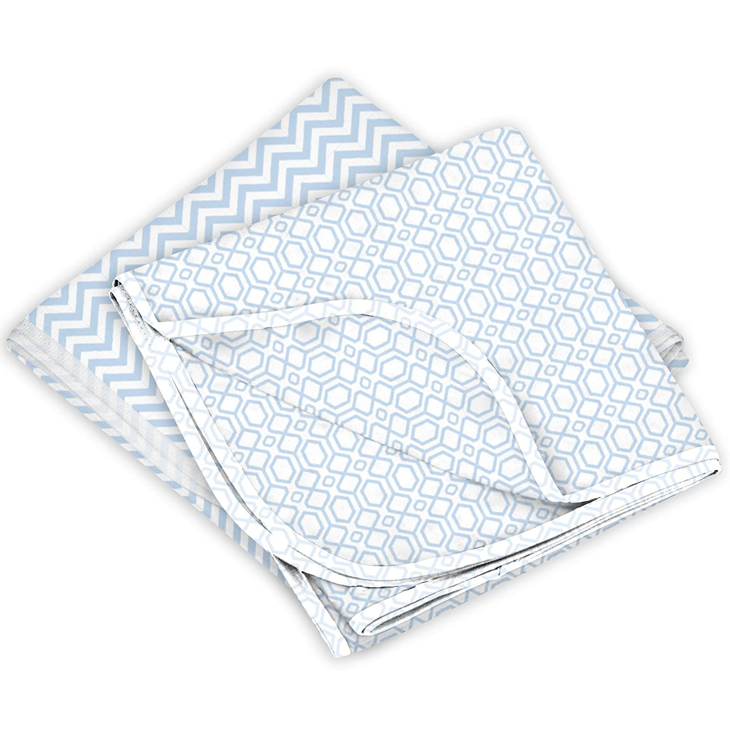 Kushies Receiving Blankets 2-Pack, Blue Chevron, Blue Octagon B542-B01