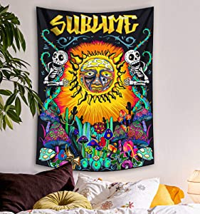 Lifeel Trippy Sublime Sun Tapestry Wall Hanging, Psychedelic Hippie Vertical Colorful Tapestries with Mushroom Cactus for Bedroom Home Decor 36×48 inch