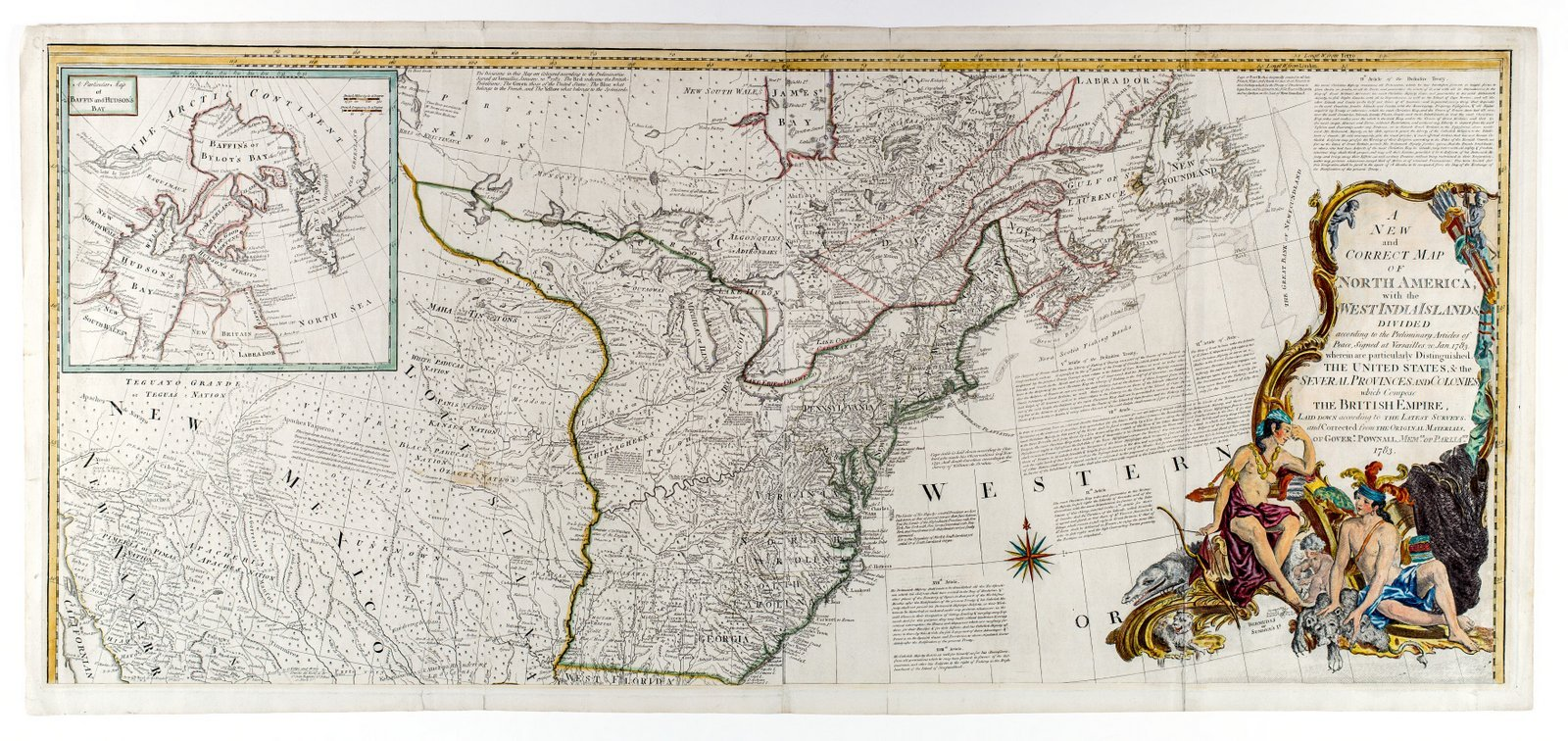Historic Map | 1783 A new and correct map of North America, with the West India islands, divided according to the preliminary articles of peace, signed at Versailles, Jan. 1783 | Vintage Reproduction