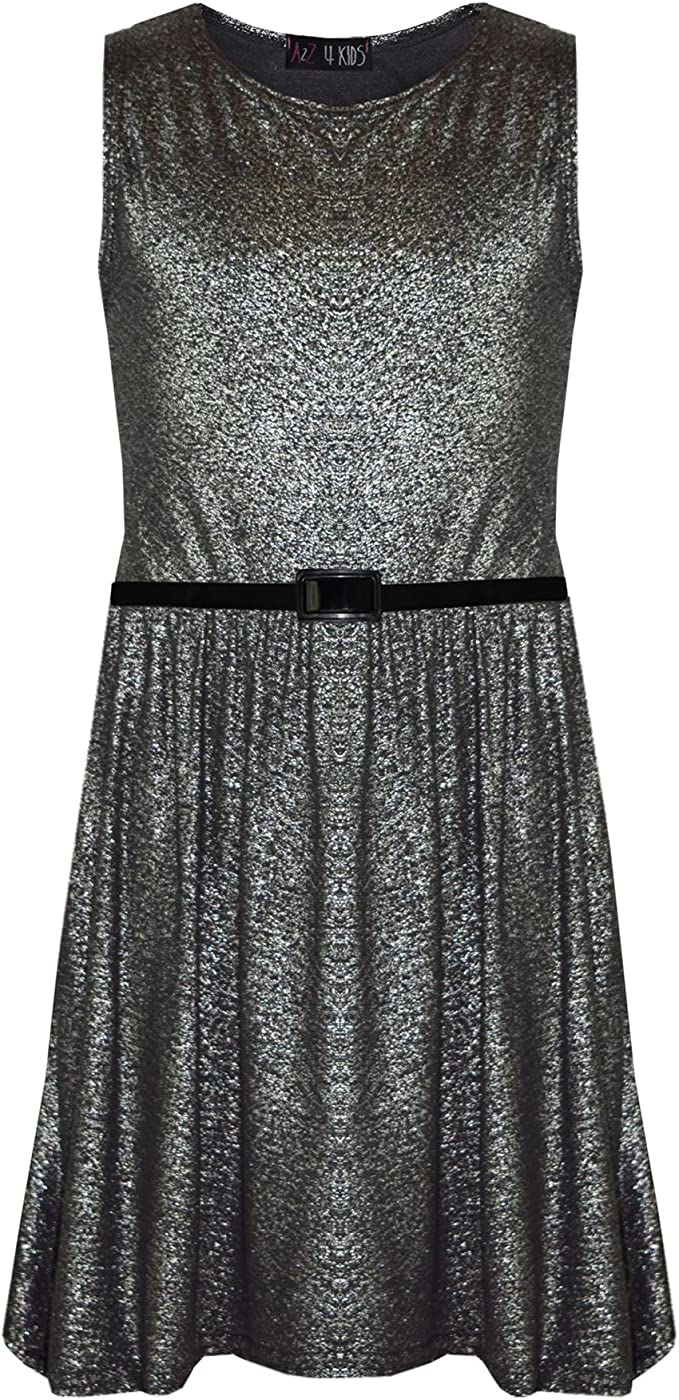 Amazon.com Girls Skater Dress Kids Shiny Summer Party