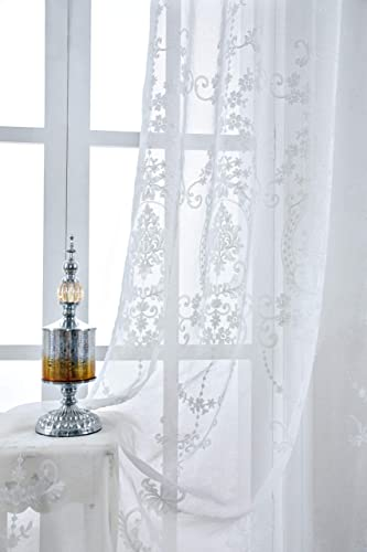 Annlaite Embroidered Window Curtains Floral Damask Medallion Curtains Embroidery Drapes 52 Inch by 84 Inch White