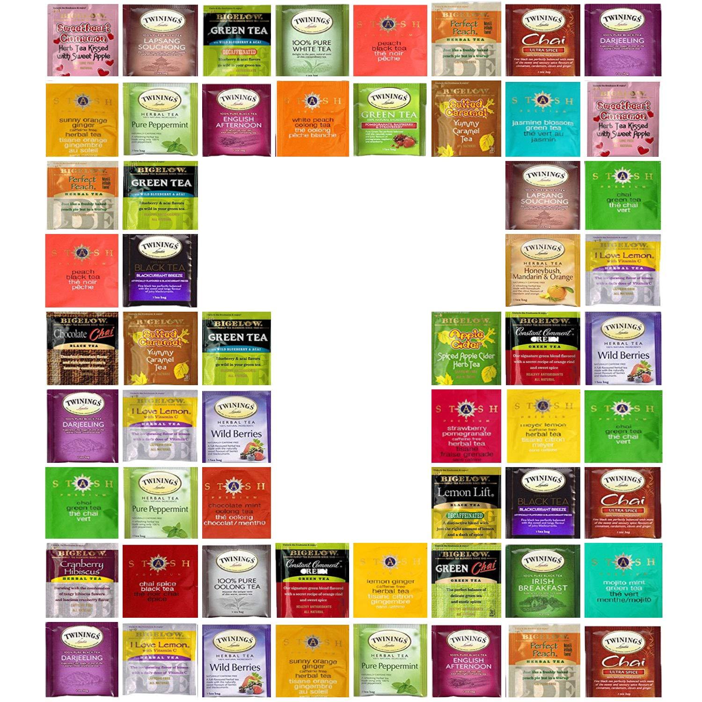 Custom Bigelow, Twining, Stash Tea Sampler, 30 Different Flavors! In Gift Box (30)