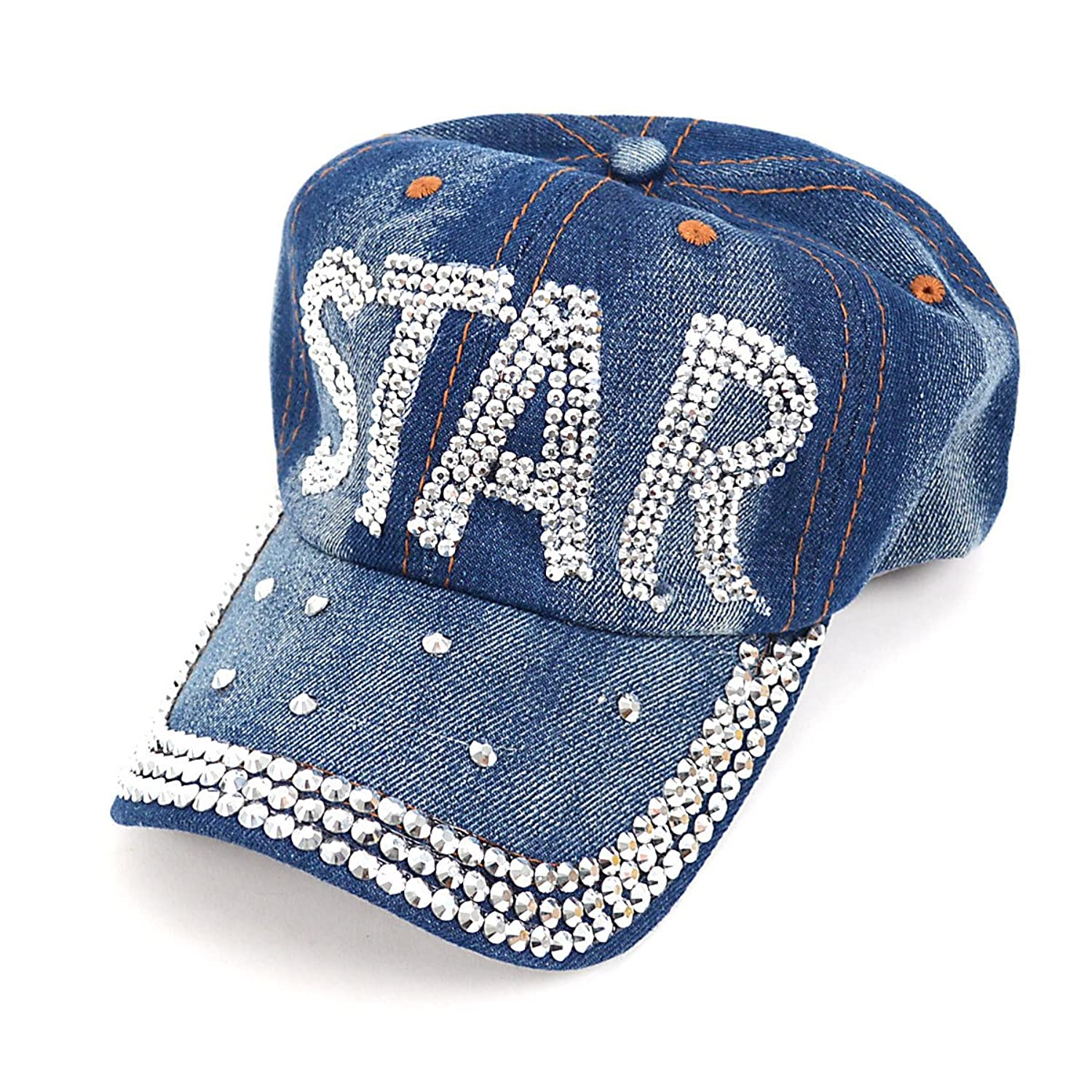 Bling Embellished Star Denim Baseball Cap