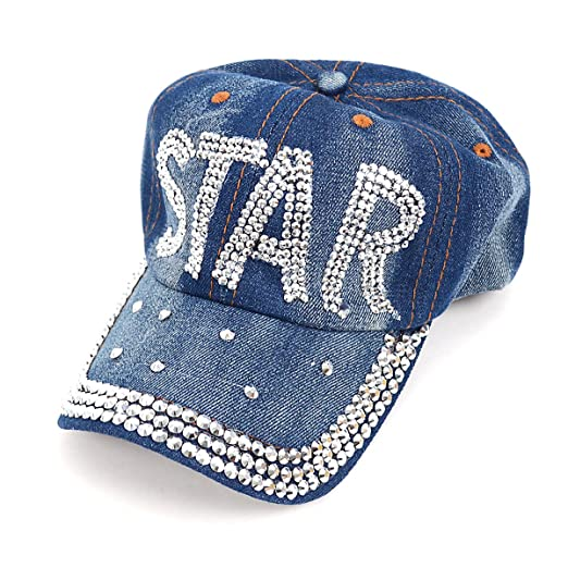 63950fdf92559a Image Unavailable. Image not available for. Color: Bling Embellished Star Denim  Baseball Cap