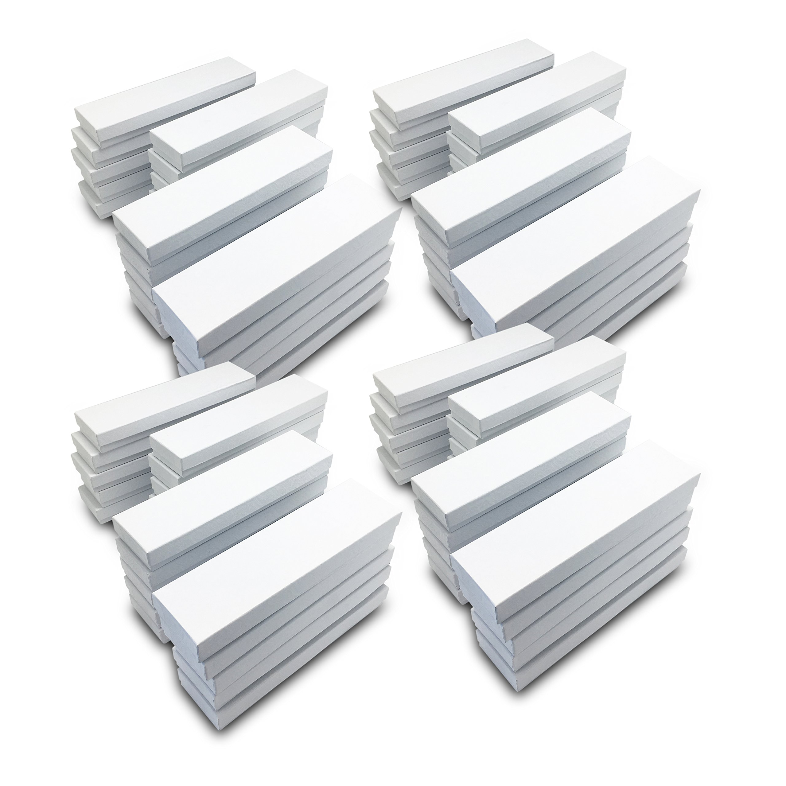 The Display Guys~ Pack of 100 Cotton Filled Cardboard Paper White Jewelry Box Gift Case -White swirl (8x2x1 inches #82) by The Display Guys