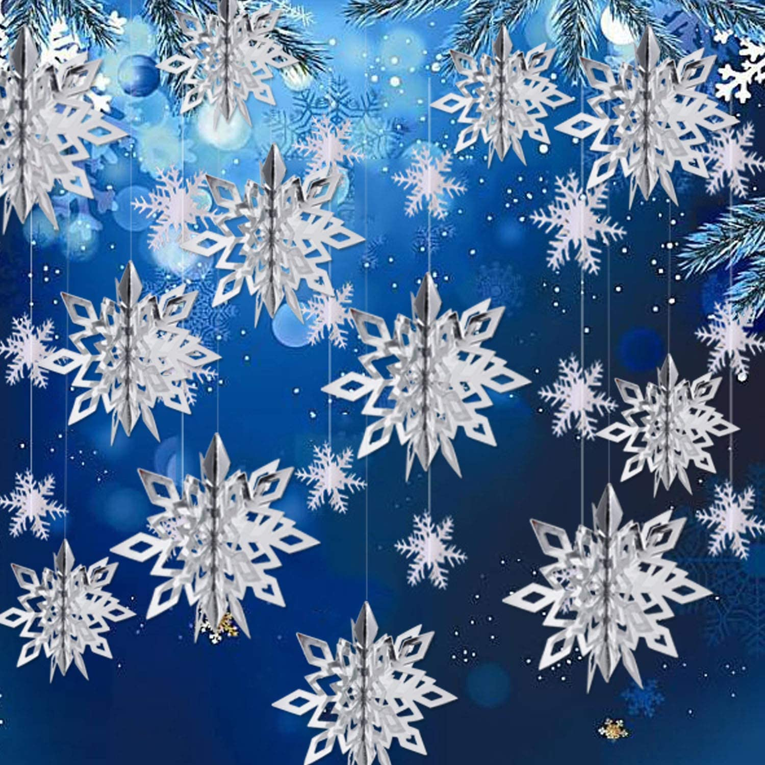 Winter Christmas Hanging Snowflake Decorations - 12PCS 3D Large Silver Snowflakes & 12PCS White Paper Snowflakes Hanging Garland for Christmas Winter Wonderland Holiday New Year Party Home Decoration