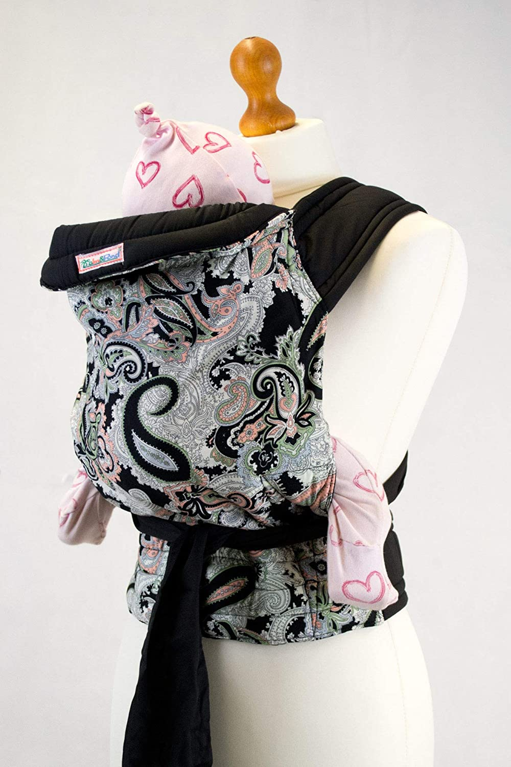 Palm and Pond Mei Tai Baby Carrier Black Paisley Design