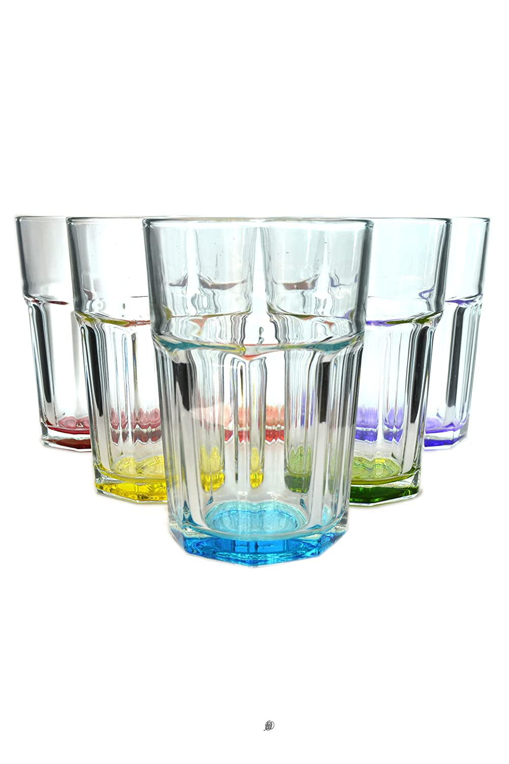 Set 6 Large Assorted Color 12oz European Glass Water/Juice Drinking Glasses American Chateau