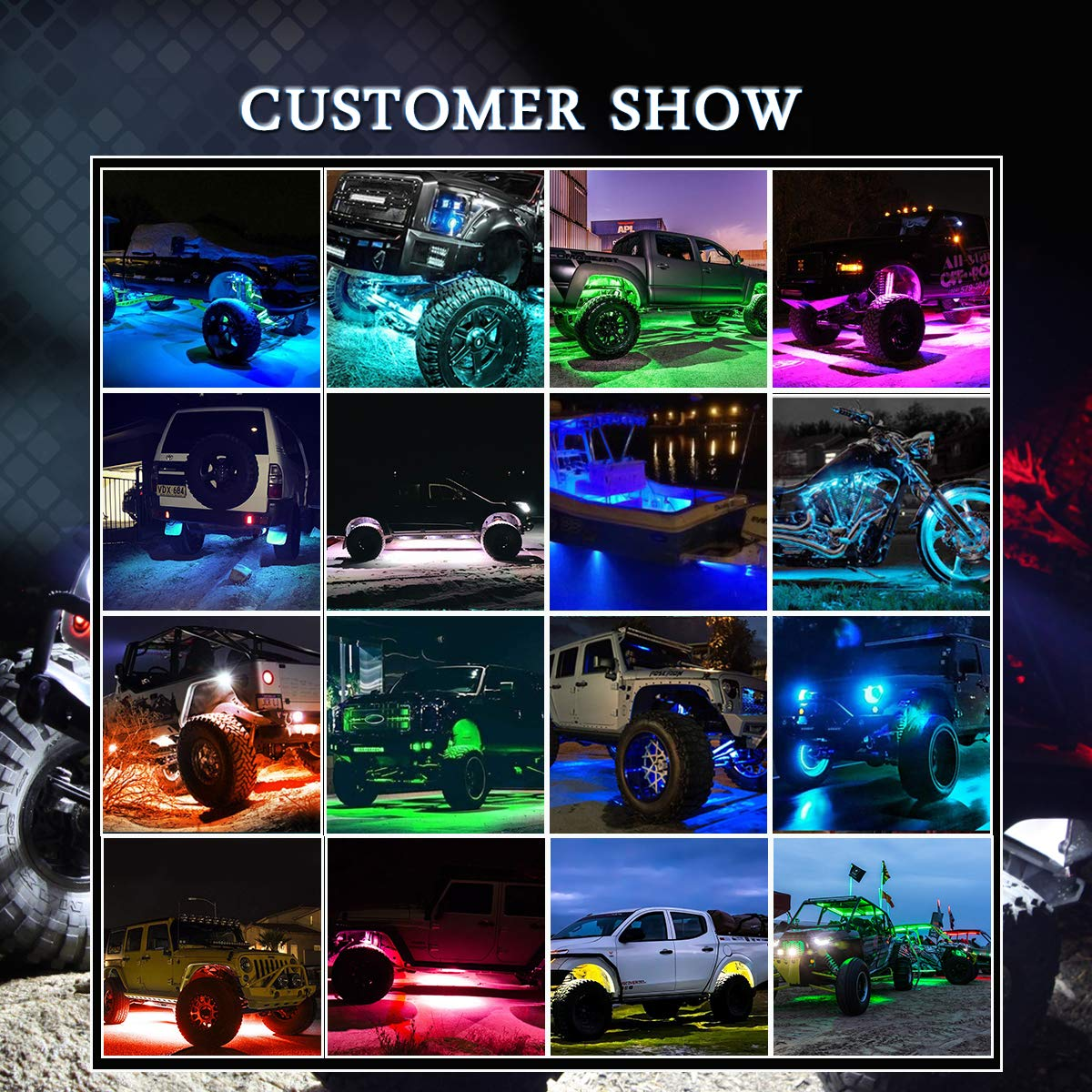 Timing Function 4 Pods RGB LED Rock Lights Kit with Bluetooth Control Music Modes Upgraded Waterproof Multicolour Under-glow Neon Led Light Kit for Truck SUV ATV Boat Off Road Jeep Scene Modes