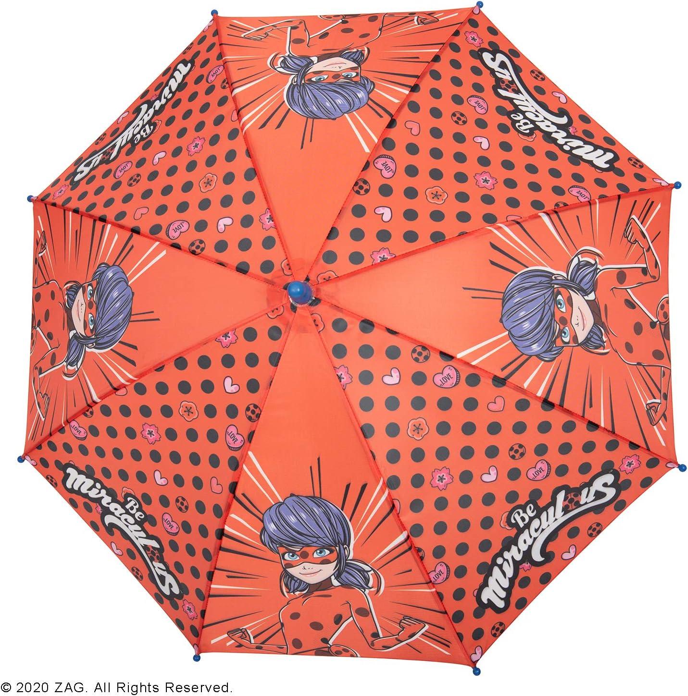 Diameter 76 cm Miraculous Lady Bug and Cat Noir Umbrella Polka Dots Perletti Ladybug Kids Umbrella Red Rain Umbrella Windproof Resistant Safe for Little Girls Black Children 3//6 Years Old