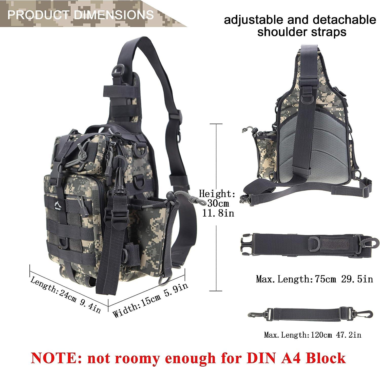 HETTO Tactical Chest Bag Bolso de Hombro Militar MOLLE Bolso de ...