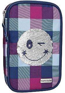Depesche 10225 Estuche Escolar, TOPModel Smiley con Lentejuelas, Relleno, Color Azul